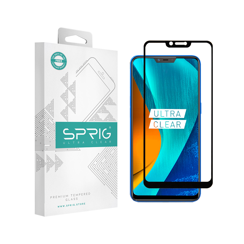 Sprig Full Cover Premium Tempered Glass/ Screen Protector for Oppo Realme 2 (Black) - Sprig