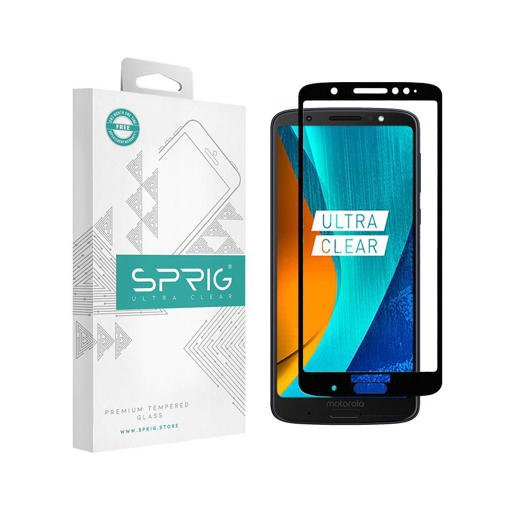 Moto G6 Plus 5d Tempered Glass silk screen  Ultra Clear - Sprig
