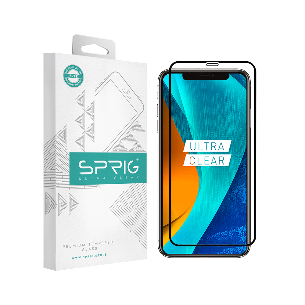 Sprig Full Cover Tempered Glass/Screen Protector for Apple IPhone XS (SH) with Installation kit - Sprig