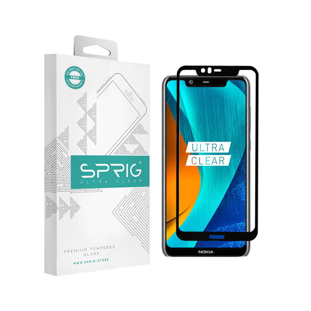 Sprig Full Cover Tempered Glass for Nokia 5.1 Plus with Installation Kit - Sprig