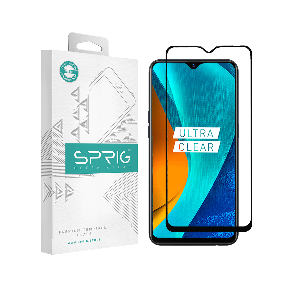 Sprig's Full Cover Tempered Glass/ Screen Guard for Oppo A5S (Black) - Sprig