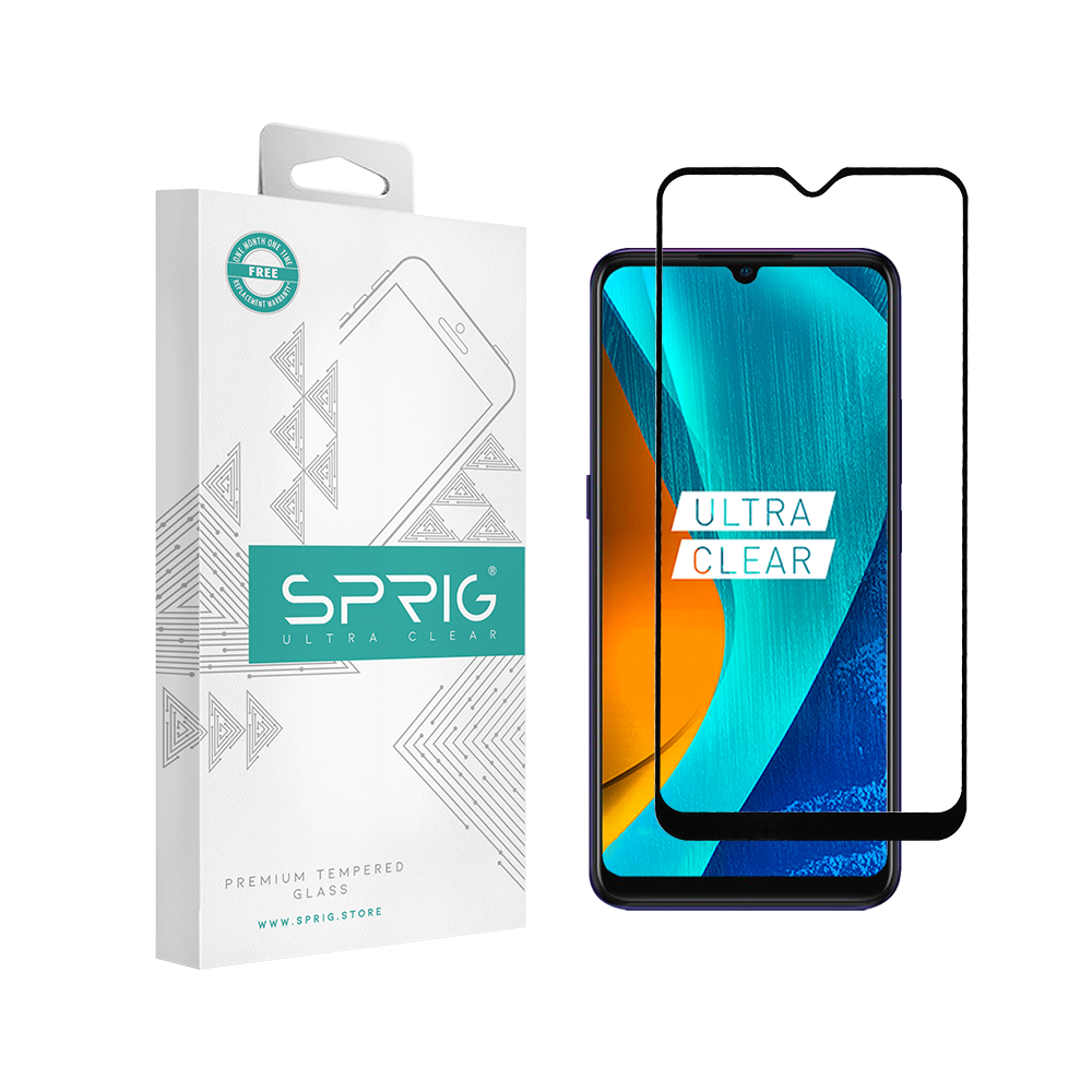Sprig Full Cover Tempered Glass for Mi Redmi Note 8 Pro (Black) - Sprig