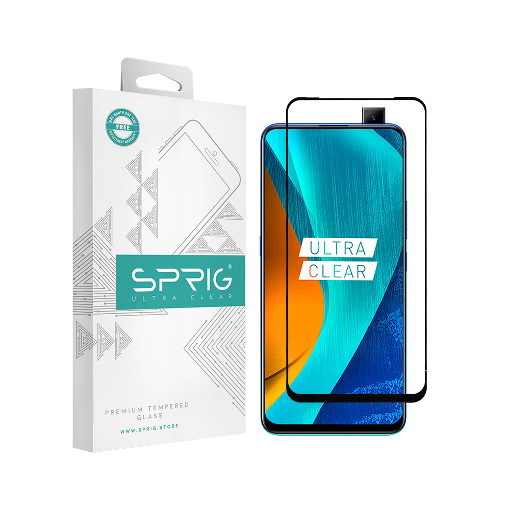 Sprig Full Cover Tempered Glass/Screen Guard for Vivo V15 - Sprig