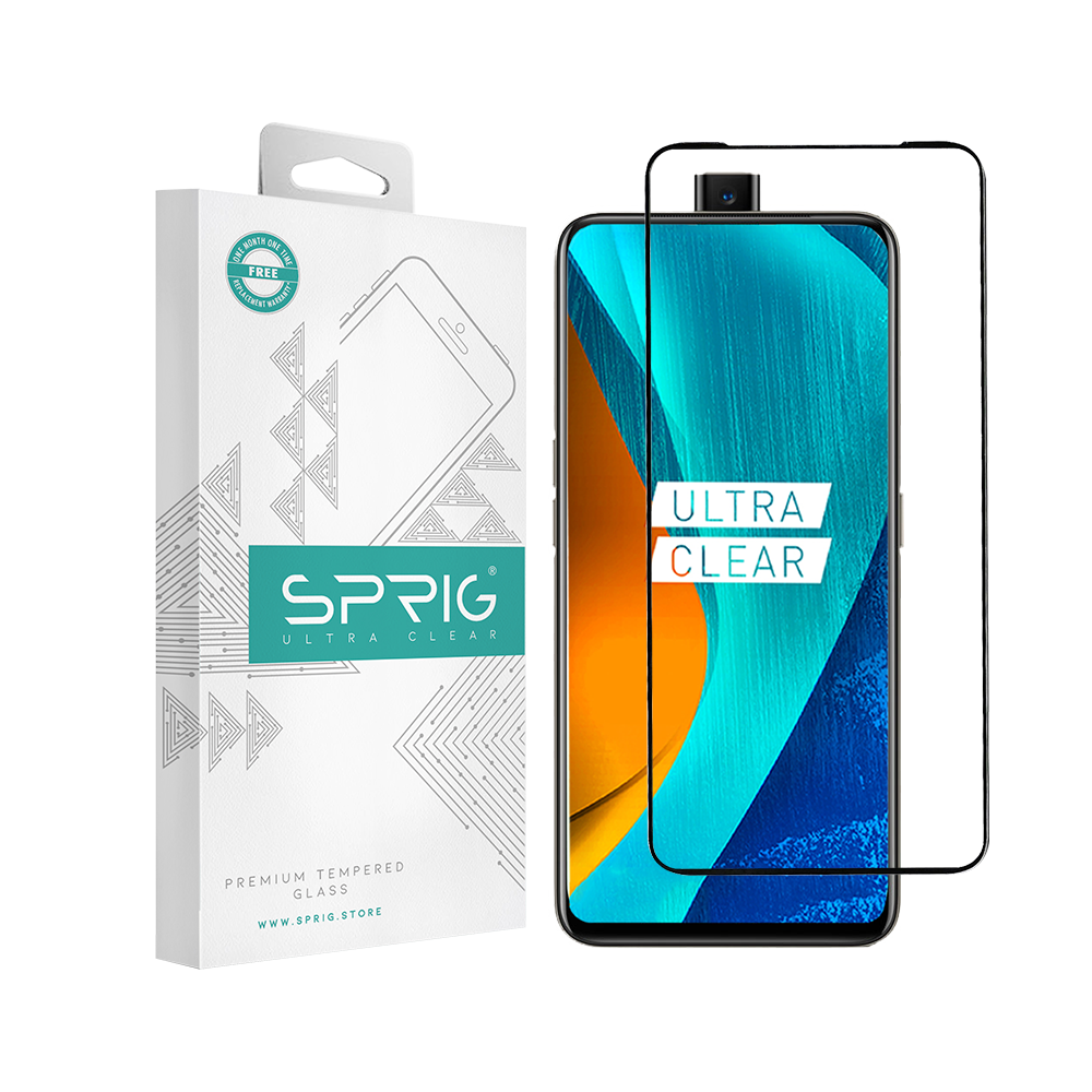 Sprig Full Cover Premium Tempered Glass/ Screen Protector for Oppo Realme X (Black) - Sprig