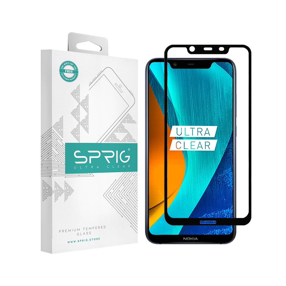 Sprig Full Screen Tempered Glass /Screen Protector for Nokia 8.1 - Sprig