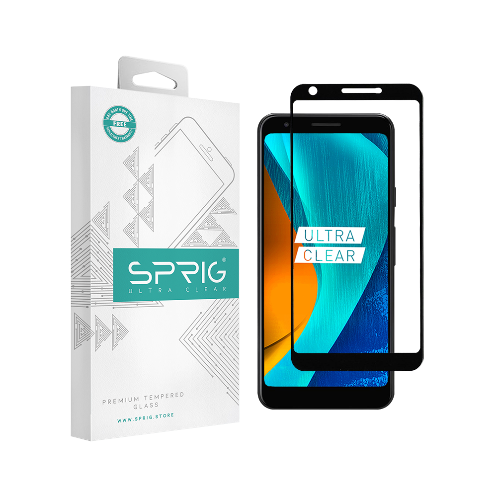 SPRIG Full Cover Tempered Glass Screen Protector for Google Pixel 3A XL - Sprig