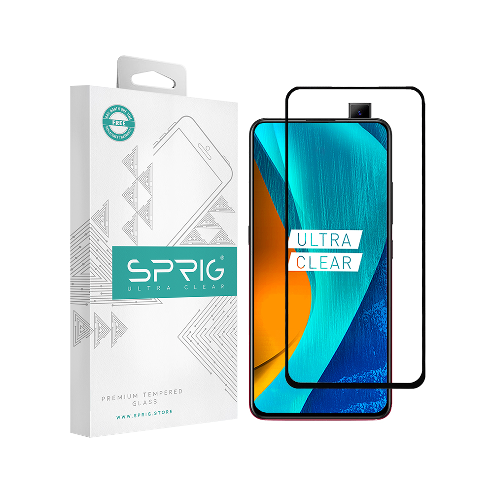 Sprig Full Cover Tempered Glass/Screen Guard for Vivo V15 Pro (Black) - Sprig