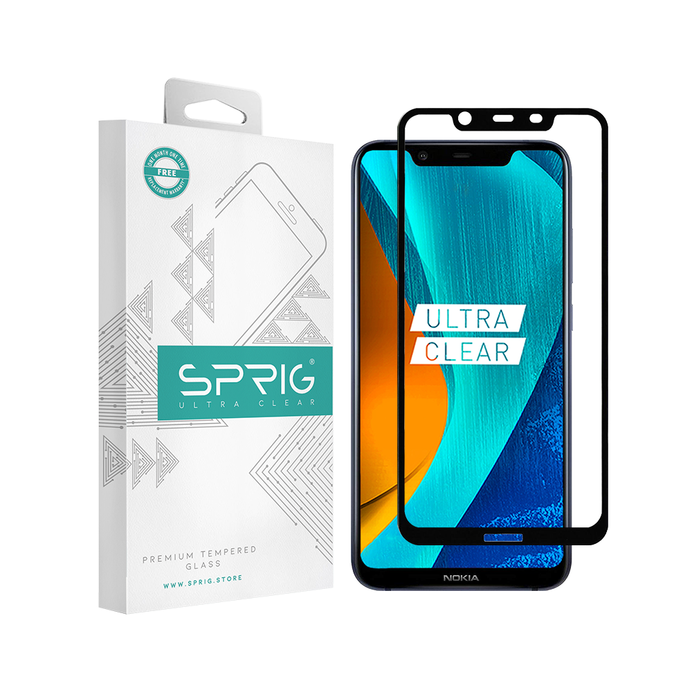 Sprig Full Cover Tempered Glass Nokia 6.1 Plus (Black) with Installation kit - Sprig