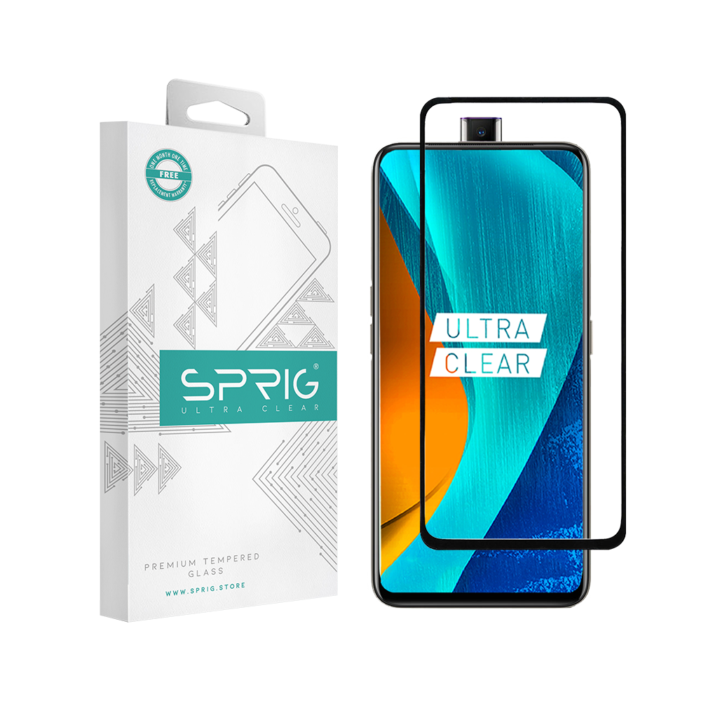 Sprig Full Cover Premium Tempered Glass/ Screen Protector for Oppo K3 (Black) - Sprig
