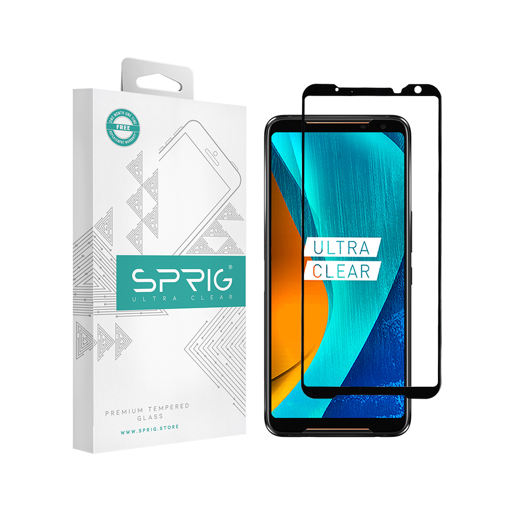 SPRIG Full Cover Tempered Glass Screen Protector for Asus ROG 2 (Black) - Sprig