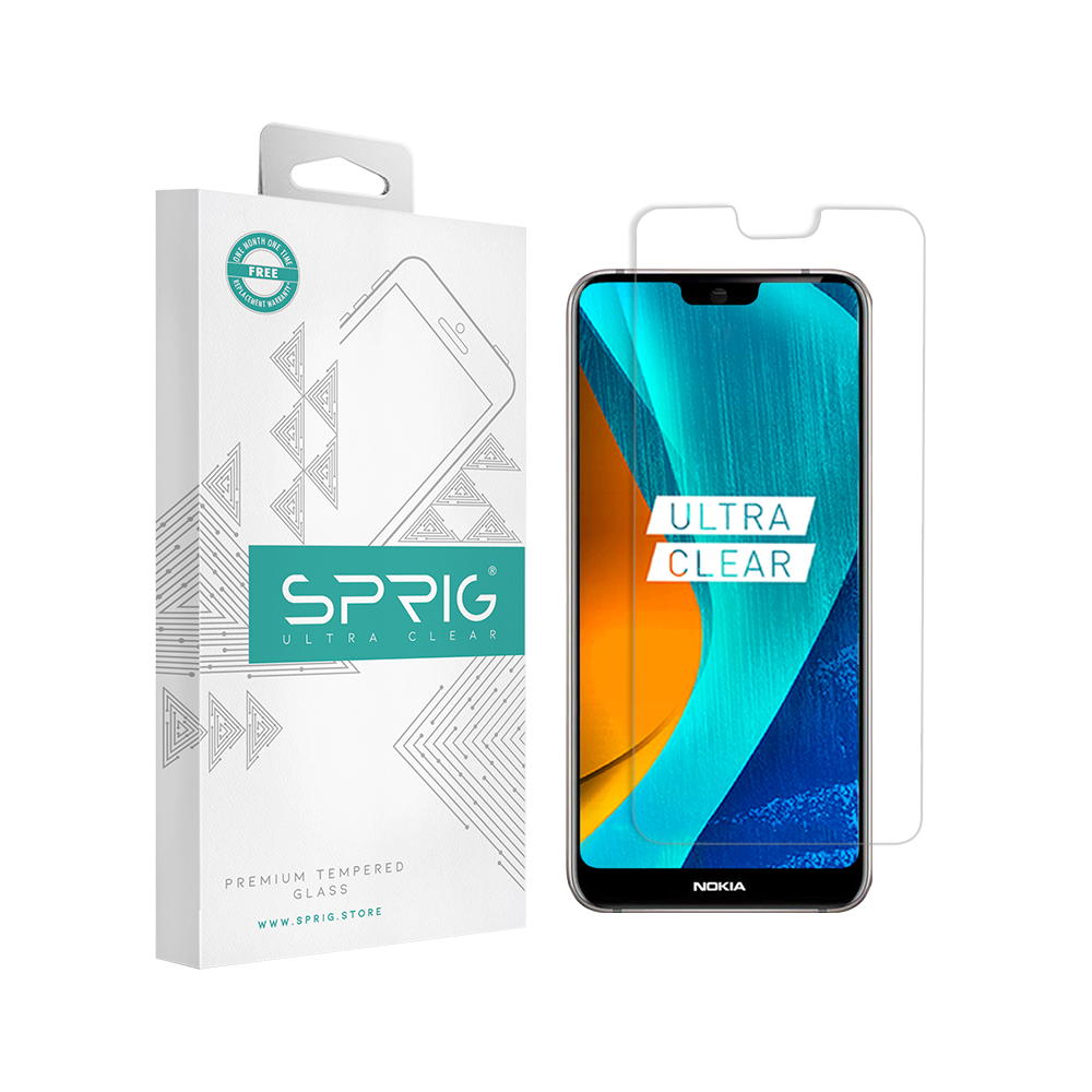 Sprig Transparent Tempered Glass for Nokia 7.1 with Installation kit - Sprig