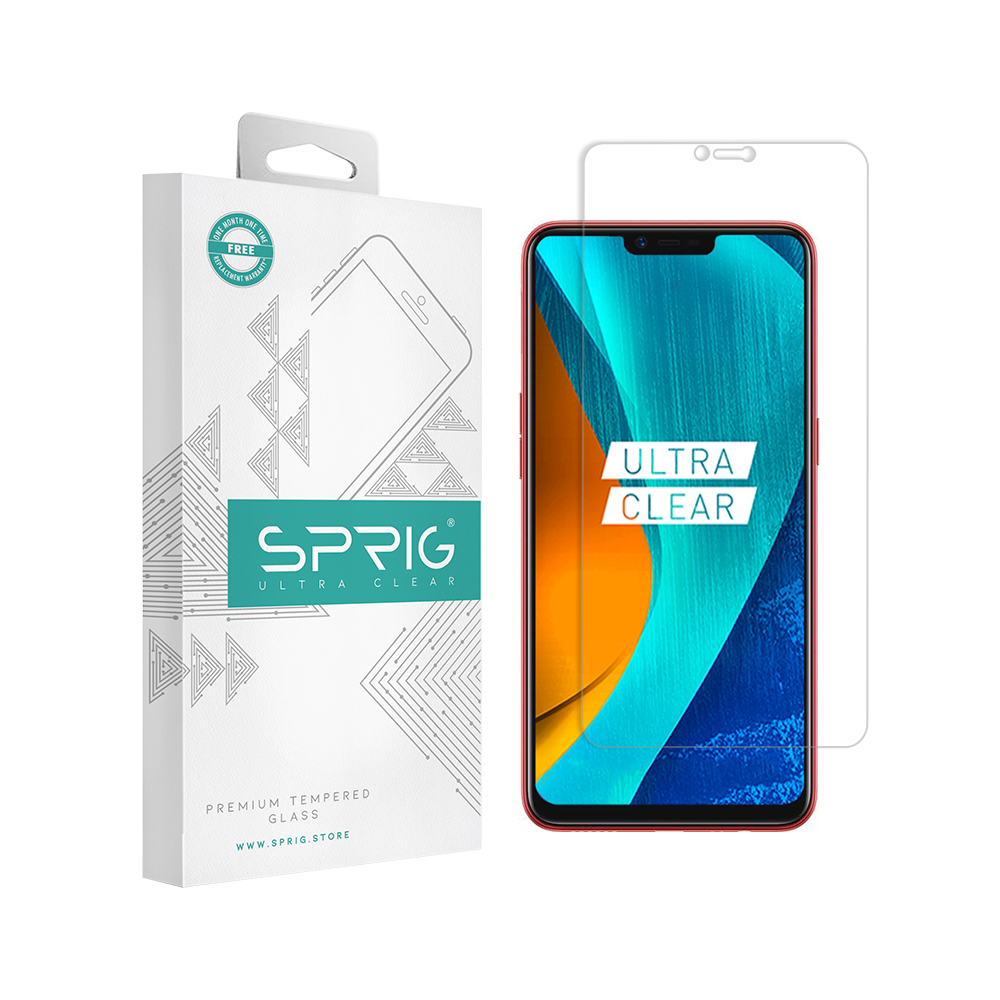 Sprig Transparent Tempered Glass/Screen Protector for Oppo A3S - Sprig