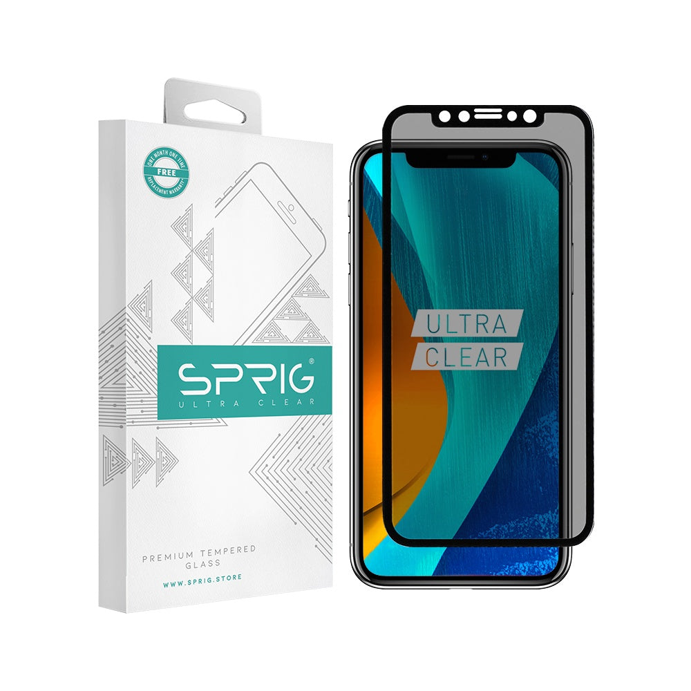 Sprig Anti Spy Tempered Glass/Screen Protector for IPhone X with Installation Kit - Sprig