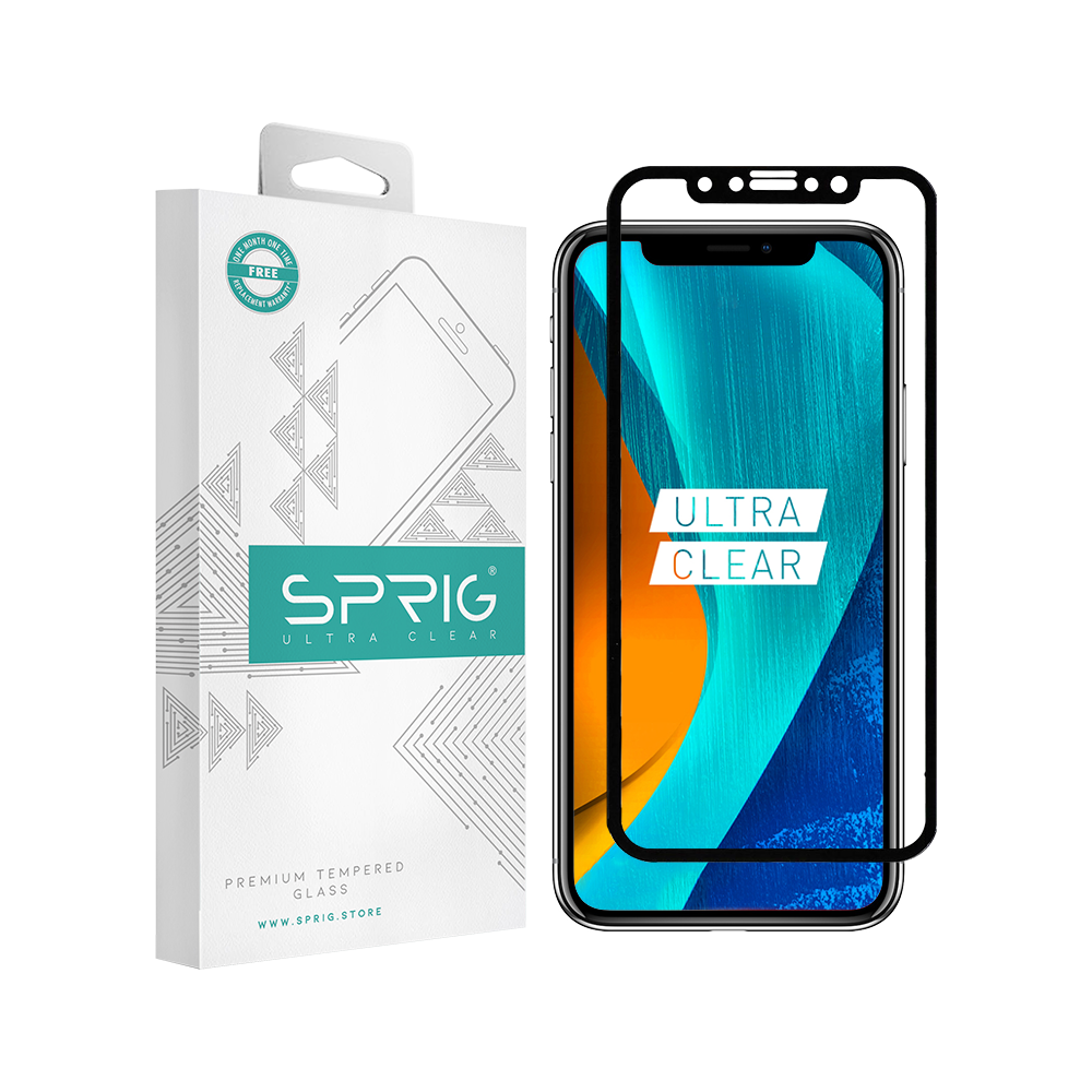 Sprig Full Cover Tempered Glass/Screen Protector for Apple IPhone XS with Installation kit - Sprig