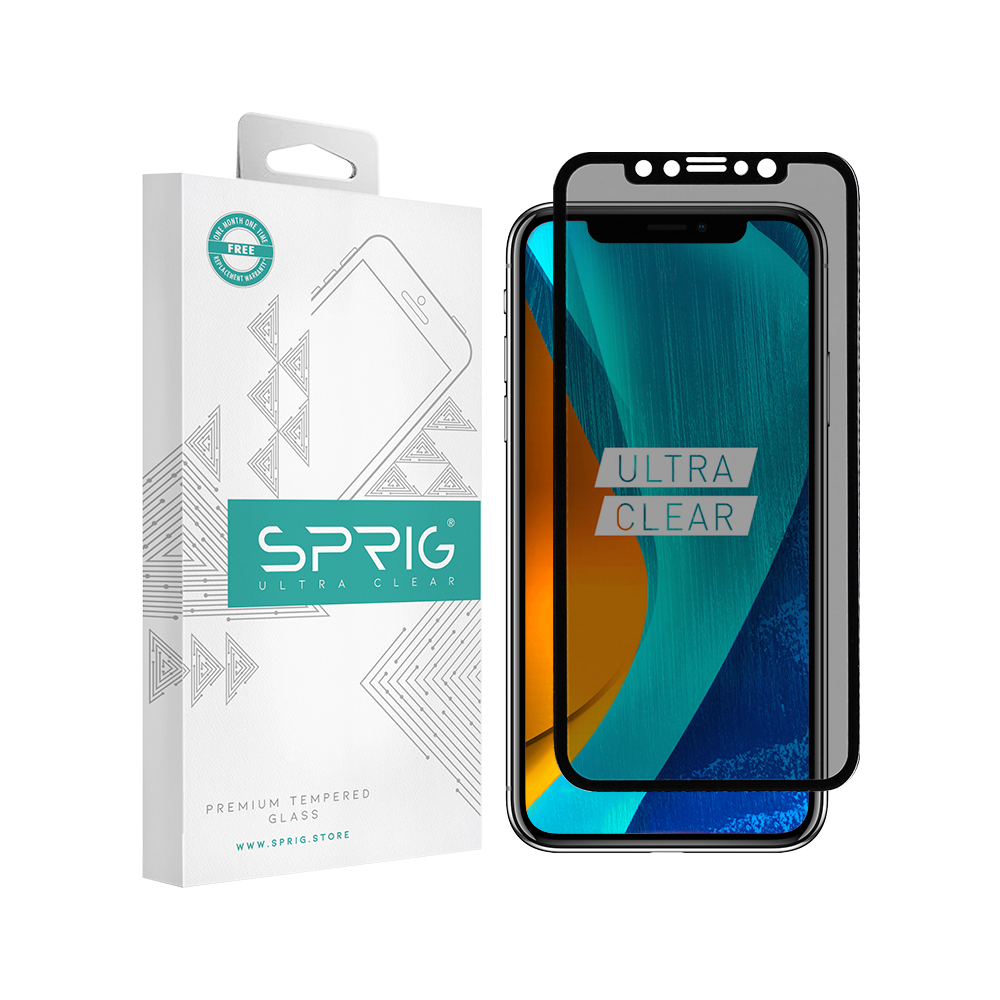 Sprig Anti Spy Full Cover Tempered Glass/Screen Protector for iPhone XS Max with Installation kit - Sprig