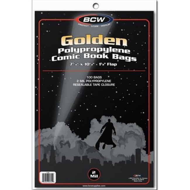 "BCW Comic Book Bags Golden Comics (7"" 5/8 x 10"" 1/2) (100 Bags Per Pack)"