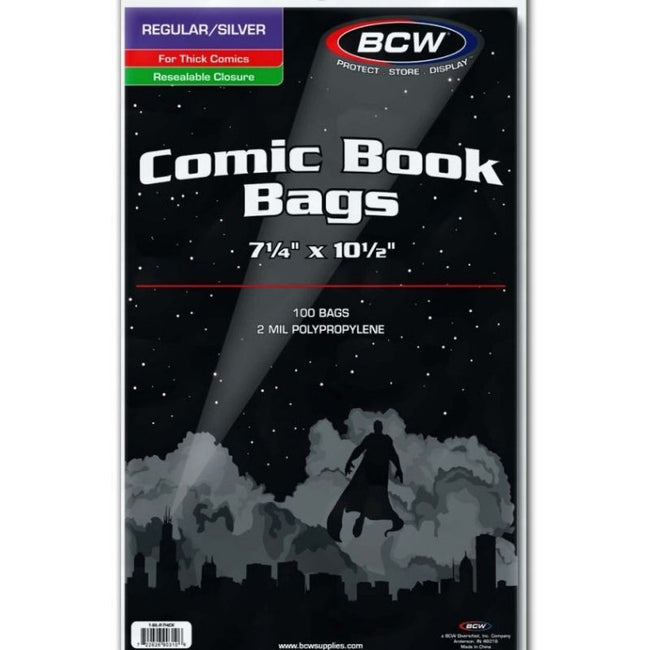BCW  REGULAR/SILVER AGE COMIC BAGS RESEALABLE ( THICK COMICS)