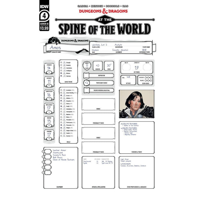 DUNGEONS & DRAGONS AT SPINE OF WORLD #4 (OF 4) CVR B CHARACT