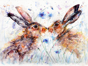 Kissing Hares Picture
