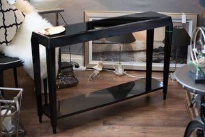 Black Console Table with Black Glass Insert Top