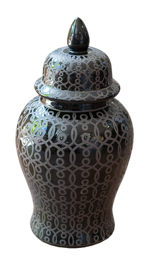 Medium Black Patterned Ginger Jar