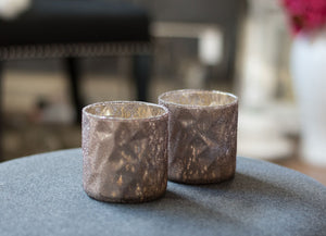 Small Frosted Candle Holders