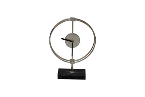 Silver Ring Clock on Stand