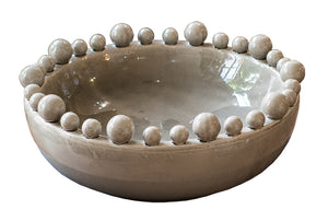 Large Grey Bowl with Ball Rim