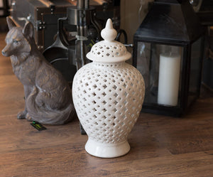 Large White Pierced Jar
