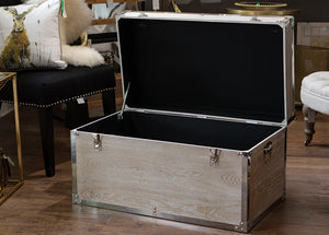 Large White Wash Metal Trim Trunk