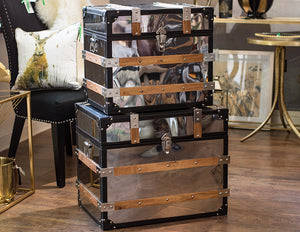 Large Wood Silver Trunk