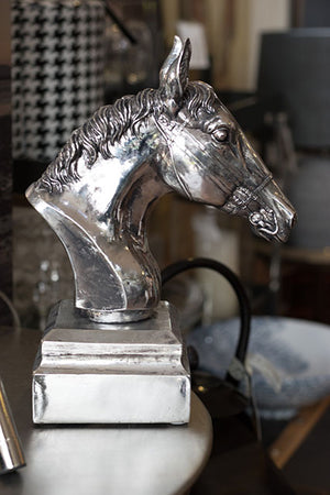 Silver Horses Head on Base Ornament