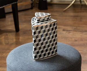 Small Monochrome Patterned Jar