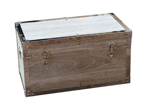 Small White Wash Metal Trim Trunk