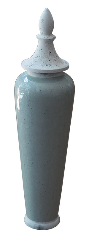 Tall Pale Green Jar