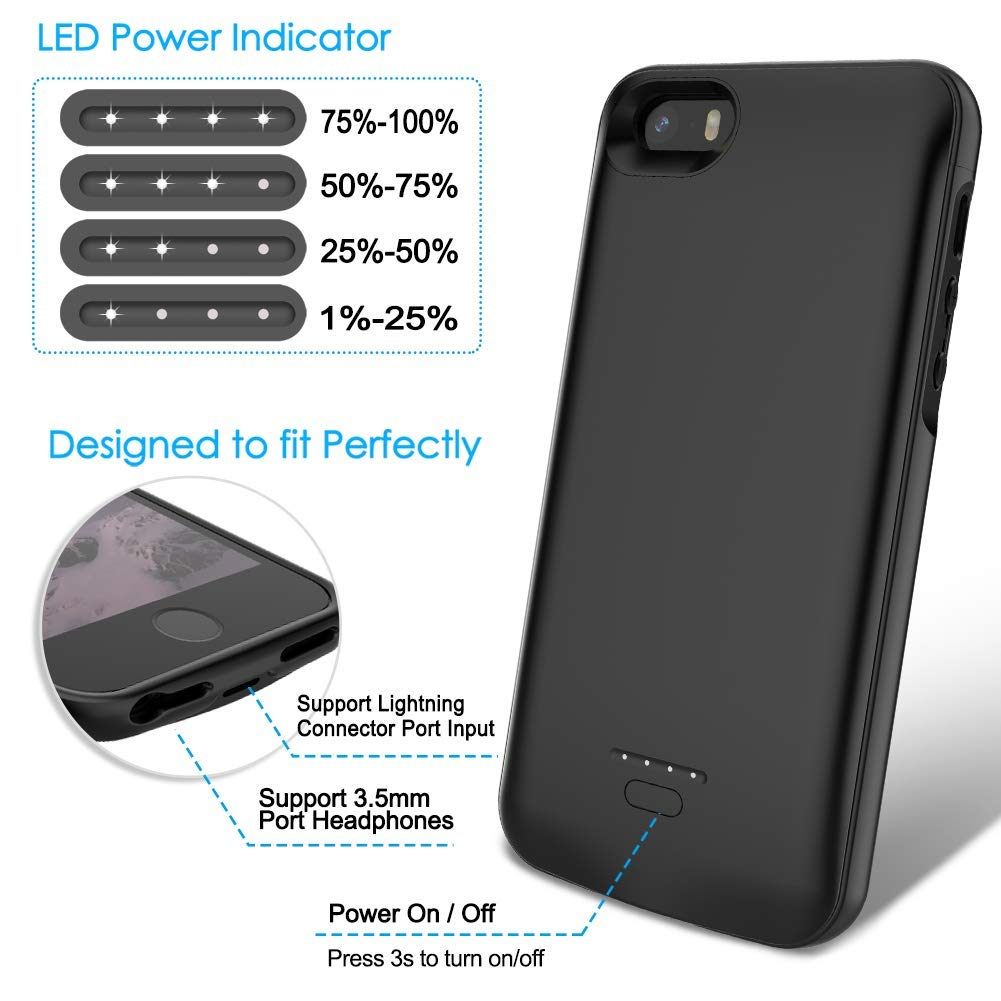 buy online cda8d e40b9 iPhone 5/5S/SE Battery Case, Wavypo 4000mAh Ultra Slim Extended  Rechargeable Charger Case External Battery Pack Portable Power Bank  Protective ...
