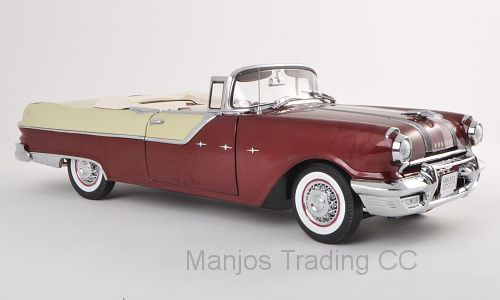 SUN5056 - 1955 PONTIAC STAR CHIEF OPEN CONVERTIBLE WHITE/MAROON