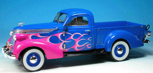 UR79106 - 1937 STUDEBAKER PICK UP BLUE AND PINK WITH FLAMES