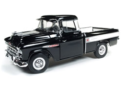 AMM1145 - 1957 CHEVY CAMEO PICK UP TRUCK BLACK WITH SILVER STRIP ON SIDE