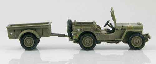 HG4201 - US WILLYS MB WITH TRAILER 4TH MARINE DIVISION , 14TH MARINE ARTILLERY , 2ND BATTALION , HQ , IWO JIM