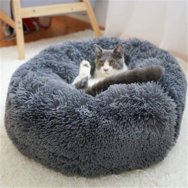 Round Plush Pet Bed House Soft Sleeping Puppy Mat