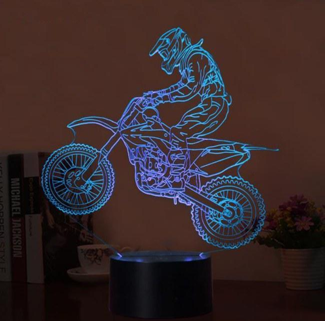 3D Optical Illusion Motocross LED Lamp
