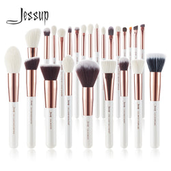 Jessup brushes Pearl White/Rose Gold Makeup brushes set Professional Beauty Make up brush Natural hair Foundation Powder Blushes - ecartts