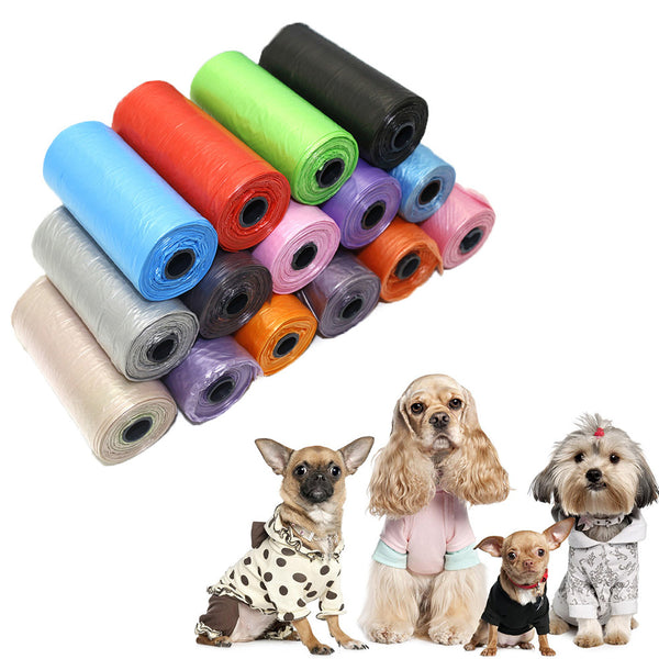 Dog Poop Bags Portable Degradable Pet Waste Poop Bags 15pcs/roll Dog - ecartts