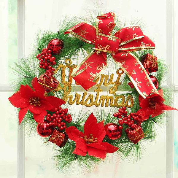 Red Plastic Christmas Wreath Ring Flowers 30 cm - ecartts