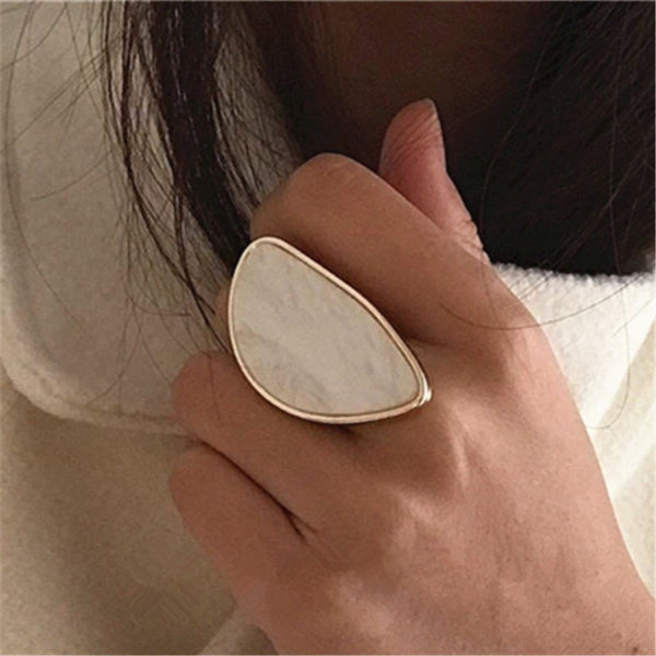 Fashion woman rings acetate plate The adjustable ring oval acrylic resin geometry rings Trendy Geometric Wedding bands rings - ecartts