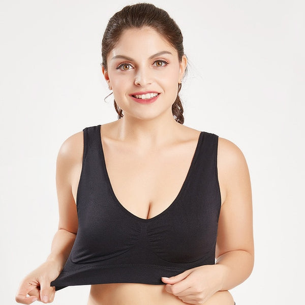 Queenral Plus Size Bras For Women Seamless Bra With Pads Big Size 5XL 6XL Bralette Push Up Brassiere Bra Vest Wireless BH - ecartts