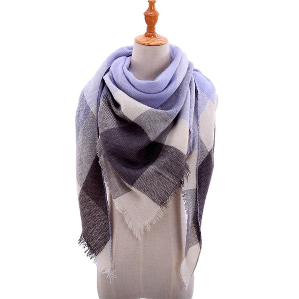 2019 New Women's Winter Triangle Scarf Plaid Warm Cashmere Scarves Female Shawls Pashmina Lady Bandana Wraps Blanket Bandana - ecartts