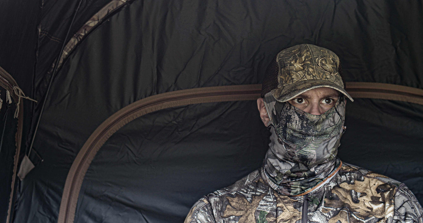 Open ear camouflage hunting face mask hunter sitting