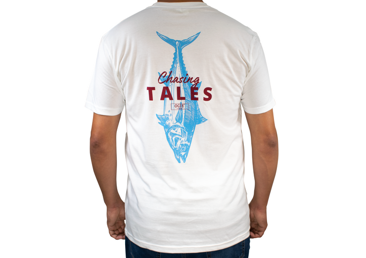 Chasing Tales Fishing Short Sleeve T-Shirt.  It's not always about the catch... The stories behind the trip are just as special. Chase the story... chase the tales. Chasing Tales fishing t-shirt with tuna. Comfortable cotton fishing t-shirt. Short sleeve